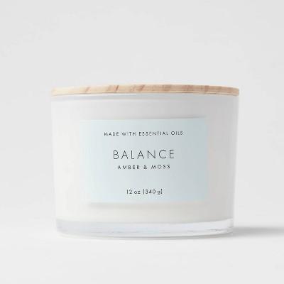 12oz Wood Lidded Glass Wellness Balance Candle - Project 62™