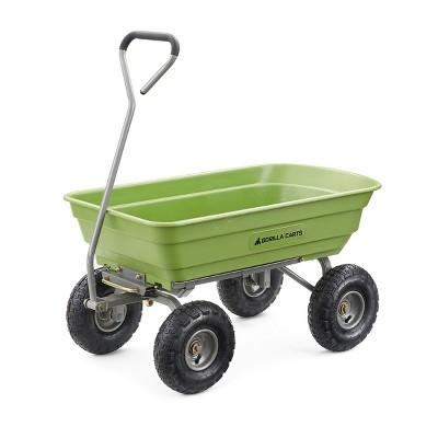 Gorilla Carts 600 Pound Capacity Heavy Duty Poly Yard Garden Steel Quick Dump Utility Wheelbarrow Wagon Trolley Cart with Straight Pull Handle, Green