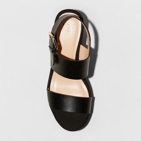 ef0d6c78cb9 Women s Zenia Two Piece Flatform Slide Sandals - A New Day™ Black ...