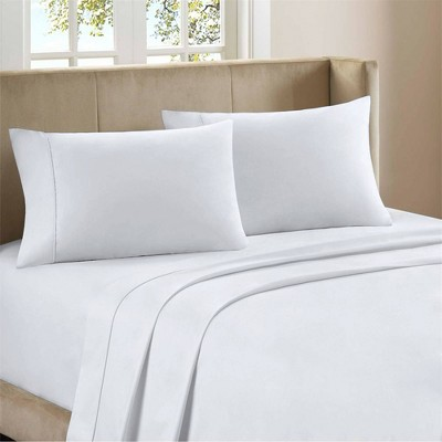 King 400 Thread Count Ultimate Percale Cotton Solid Sheet Set White - Purity Home