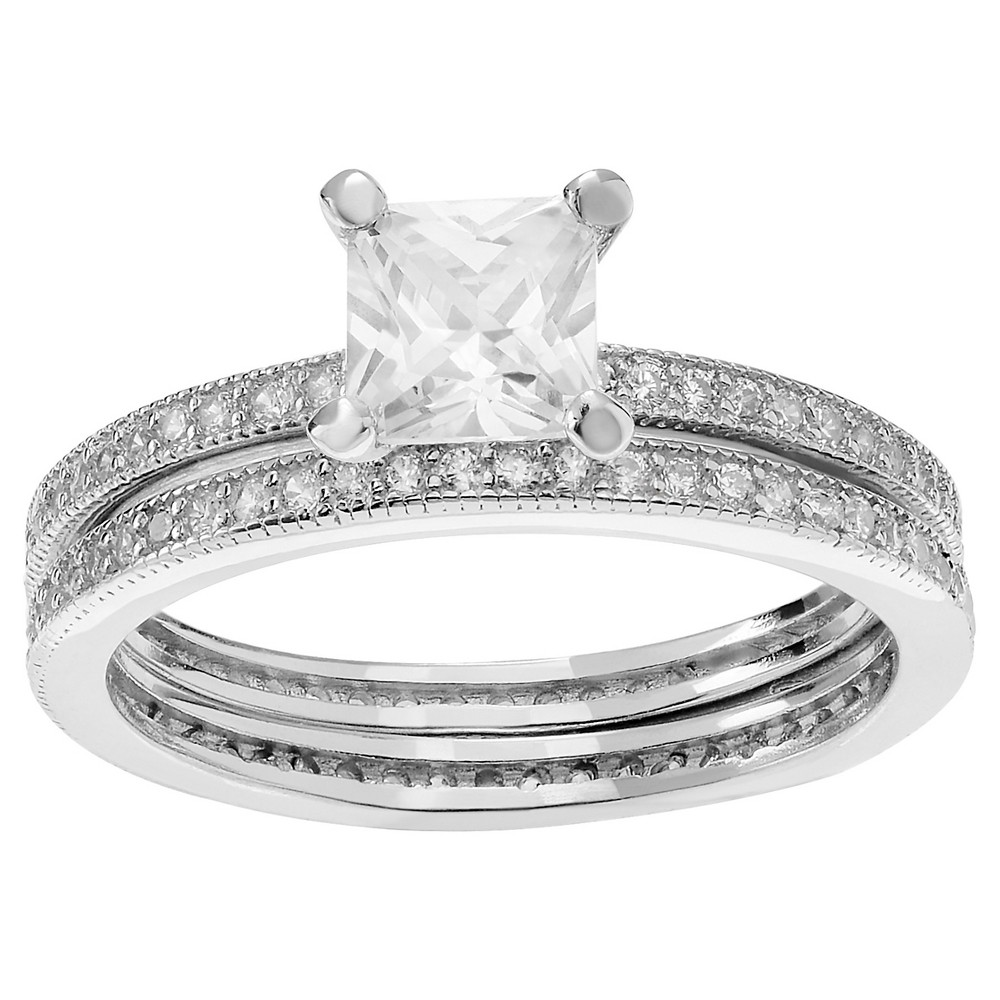 1 1/2 CT. T.W. Square-cut Cubic Zirconia Square Bridal Prong Set Ring Set in Sterling Silver - Silver, 7