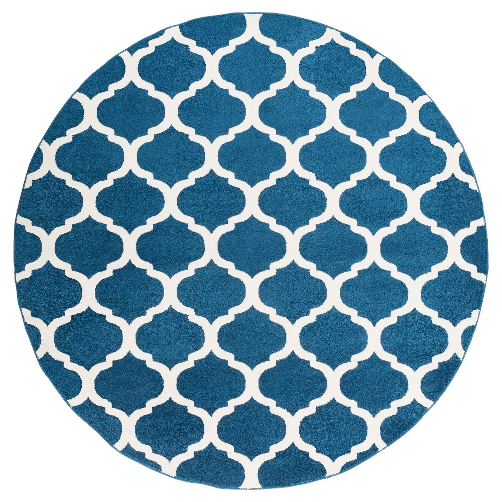 Navy (Blue) Abstract Tufted Round Area Rug - (7'10 Round) - Surya
