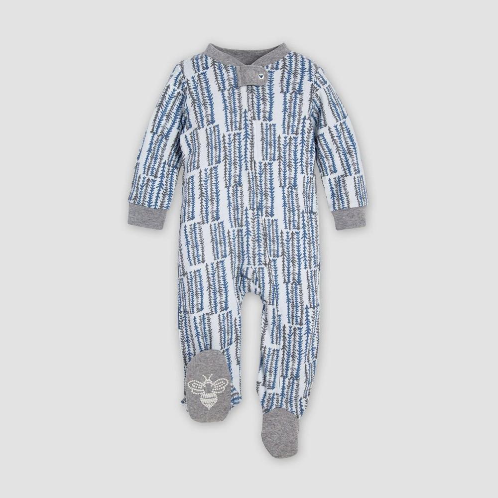 Image of Burt's Bees Baby Baby Boys' Corn Maze Organic Cotton Sleep N' Play Union Suit - Gray/Blue 3-6M, Boy's