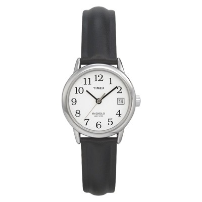 Women's Timex Easy Reader  Watch with Leather Strap - Silver/Black T2H331JT