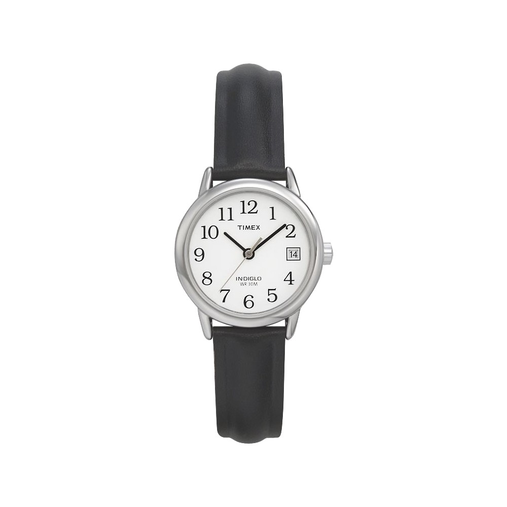 Women 39 S Timex Easy Reader Watch With Leather Strap Silver Black T2h331jt