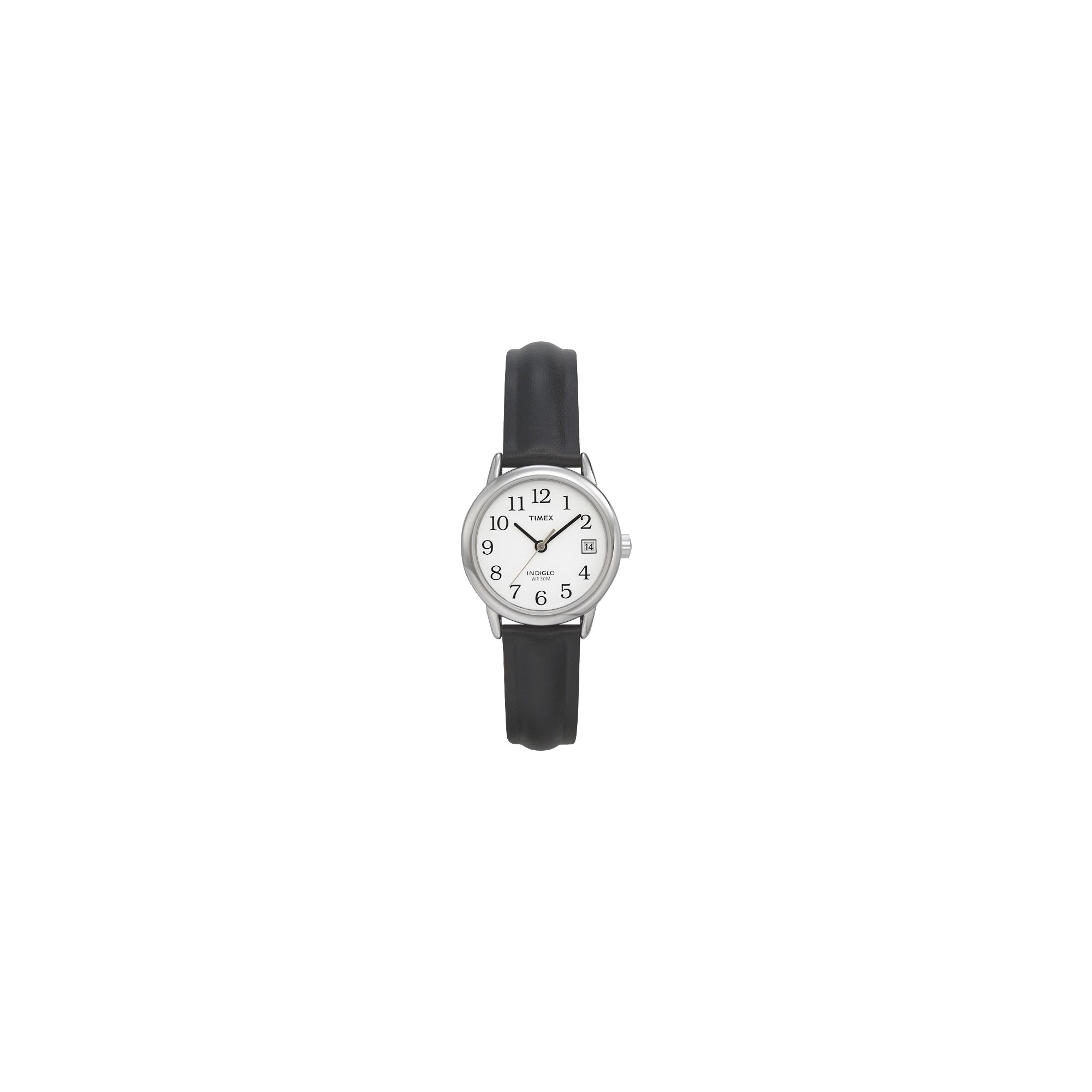 Women's Timex Easy Reader Watch with Leather Strap - Silver/Black T2H331JT, Size: Small