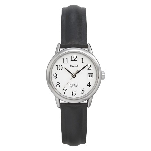 3bb02040b Women's Timex Easy Reader® Watch with Leather Strap - Silver/Black T2H331JT