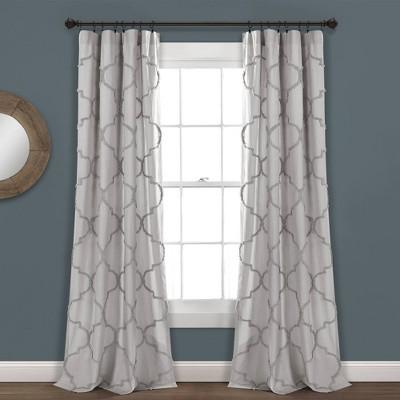 "84""x40"" Avon Chenille Trellis Rod Pocket Light Filtering Window Curtain Panels Light Gray - Lush Décor"
