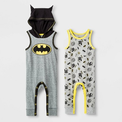 Baby Boys' DC Comics 2pk Batman Rompers - Newborn