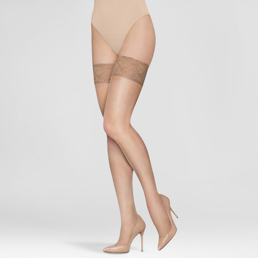 Image of Hanes Premium Women's Lace Thigh High Stockings - Nude XL