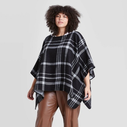Women's Plus Size Plaid Poncho Sweater - A New Day™ Black  - image 1 of 2
