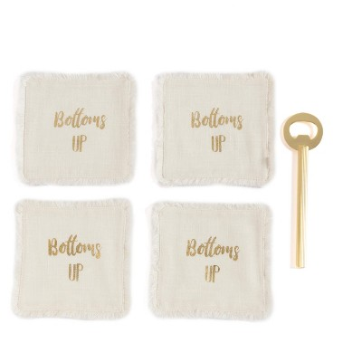 """""""Bottoms Up"""" Set of Four Coasters And Bottle Opener Gift Set - Off-White - Shiraleah"""