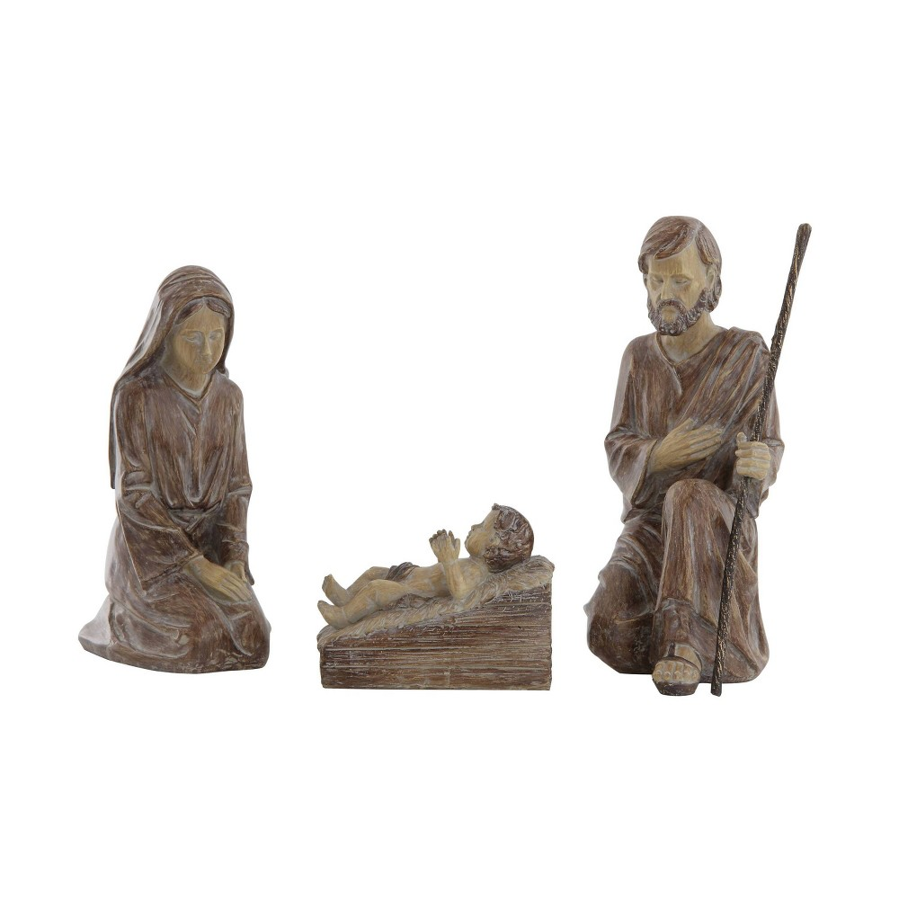 "Image of ""3pc/11.5"""" Resin Holy Family Decorative Figurines - 3R Studio, Brown"""
