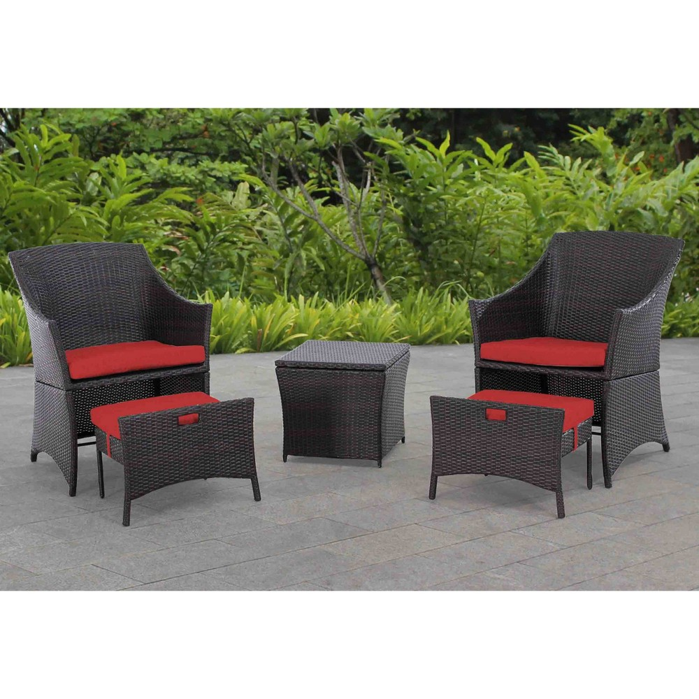 5pc Parkside Wicker Seating Set Brown/Red - Sunjoy