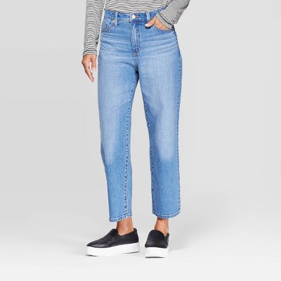 Women's Relaxed Fit High-Rise Straight Cropped Jeans - Universal Thread™ Medium Blue