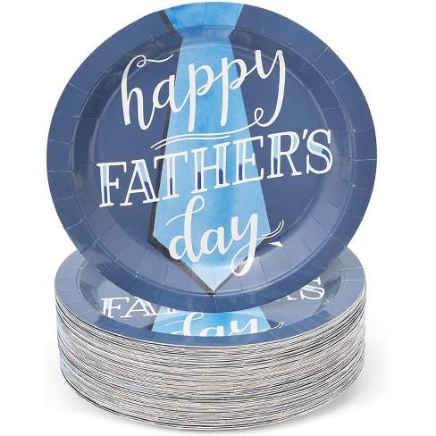 """Blue Panda 80 Pack """"Happy Father's Day"""" Paper Plates with Tie Design, Father's Day Party Supplies, 9 Inch - image 1 of 3"""