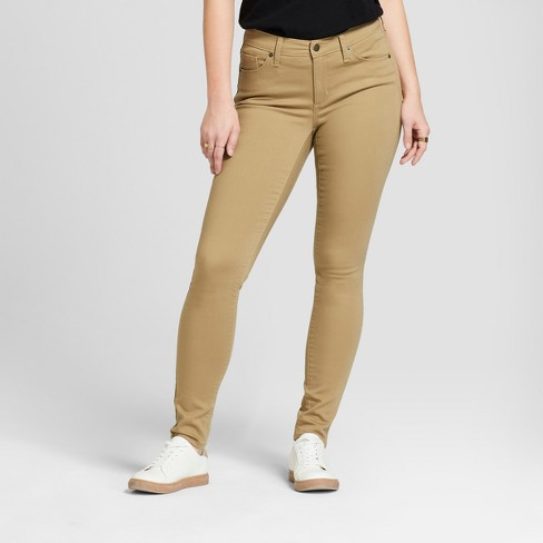 Women's Mid-Rise Curvy Skinny Jeans - Universal Thread™ Tan - image 1 of 3