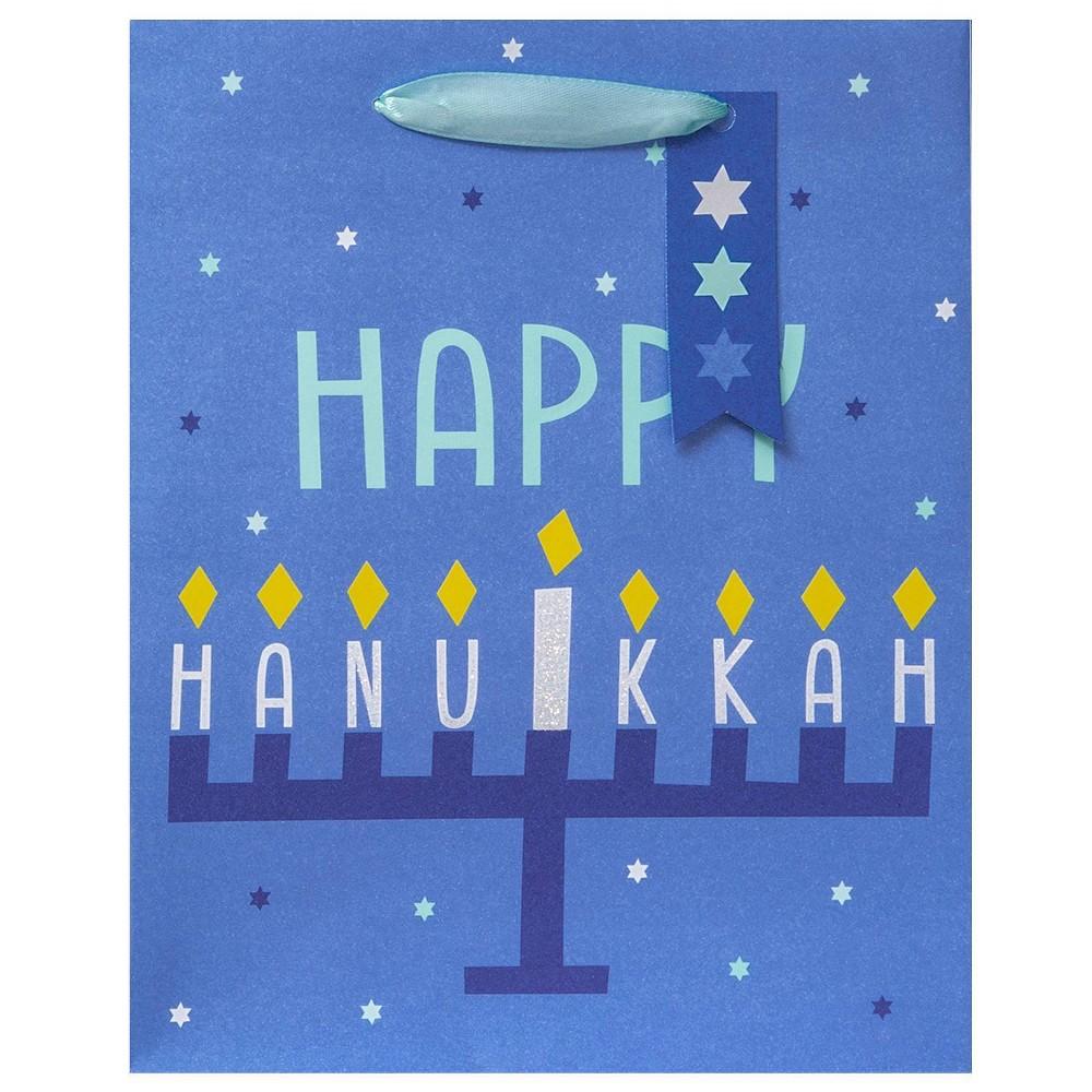 Image of Happy Hanukkah Vogue Gift Bag on Blue