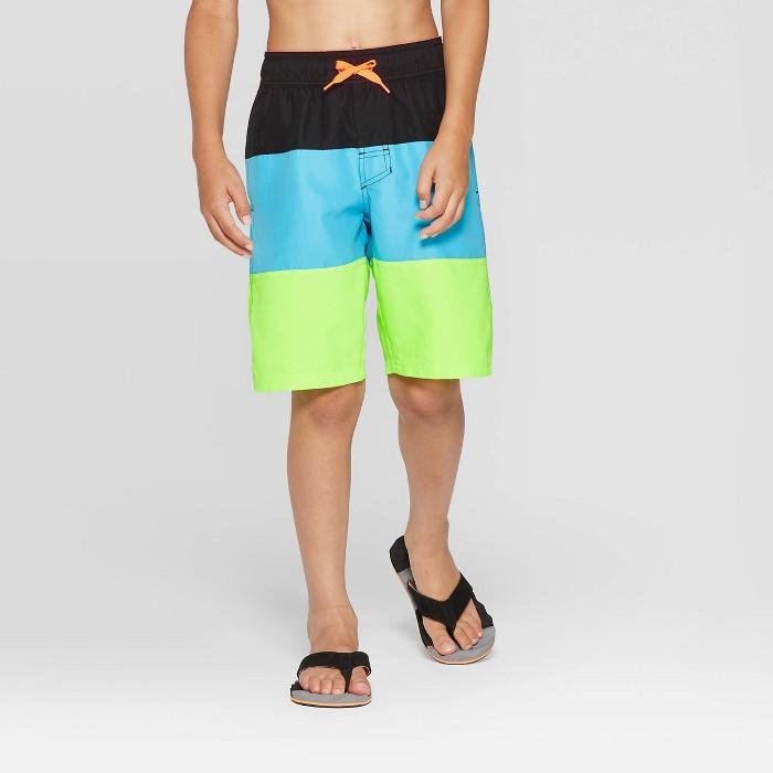 Boys' Colorblock Swim Trunks - Cat & Jack™ Black/Blue/Lime - image 1 of 3