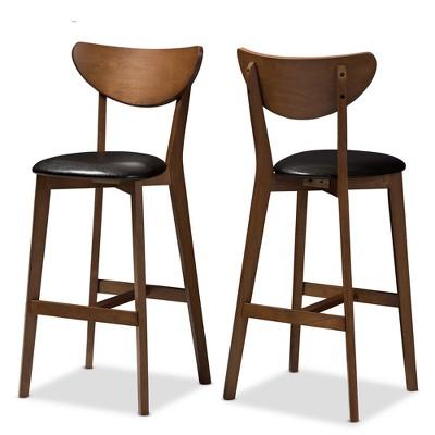 Set of 2 Eline Mid-Century Modern Walnut Finished Wood Faux Leather Upholstered Barstools Black - Baxton Studio