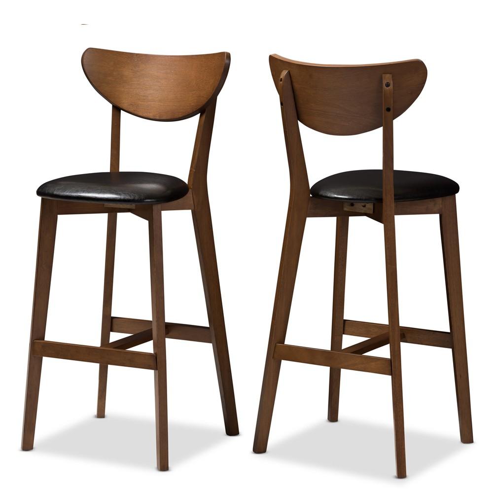 Set Of 2 Eline Mid Century Modern Walnut Finished Wood Faux Leather Upholstered Barstools Black Baxton Studio