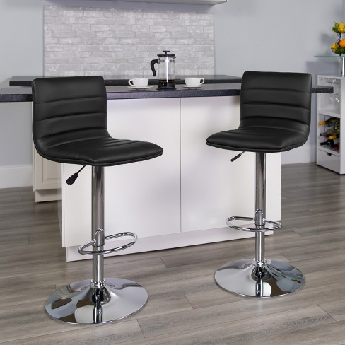Flash Furniture Modern Black Vinyl Adjustable Bar Stool With Back Counter Height Swivel Stool With Chrome Pedestal Base Target
