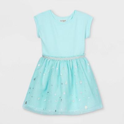 Girls' Printed Short Sleeve Tulle Dress - Cat & Jack™