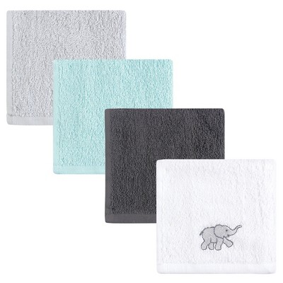 Luvable Friends Baby Unisex Super Soft Cotton Washcloths, Gray Elephant, One Size