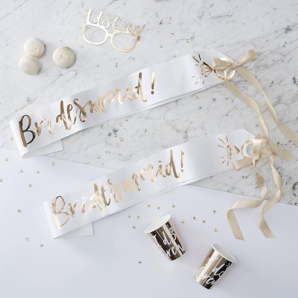 Image of 2pk Bridesmaid Party Sash, Gold