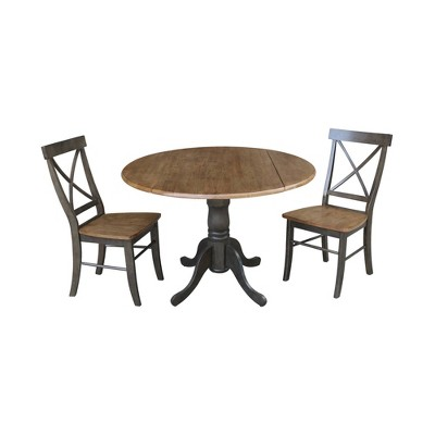 "42"" Mase Dual Drop Leaf Table with 2 X Back Chairs - International Concepts"