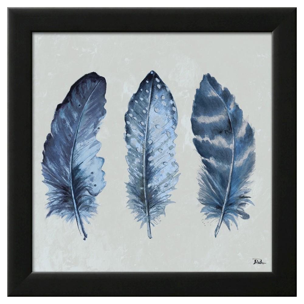 Indigo Feathers I Black Wood Framed Art Print, Blue