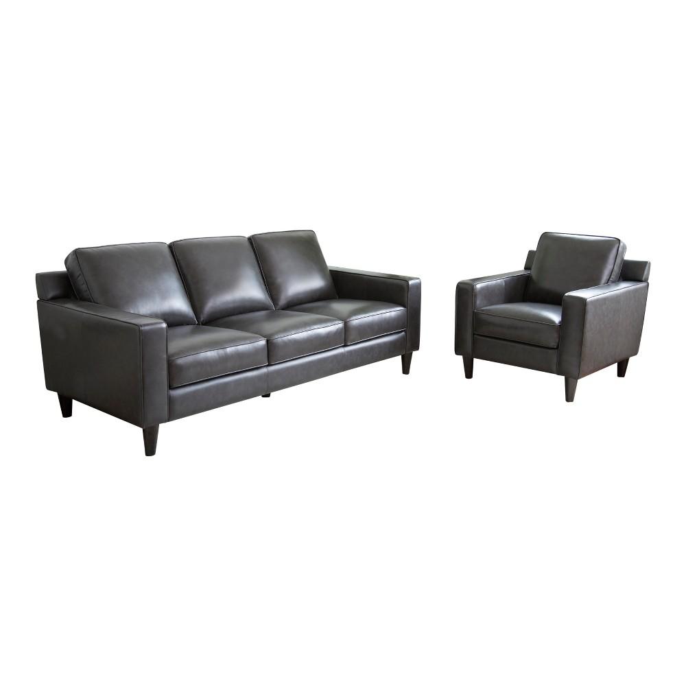 Image of 2pc Olivia Top Grain Leather Sofa & Armchair Set Gray - Abbyson Living