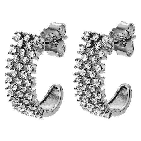 5/8 CT. T.W. Round-cut CZ Half Hoop Prong Set Earrings in Sterling Silver - Silver - image 1 of 2