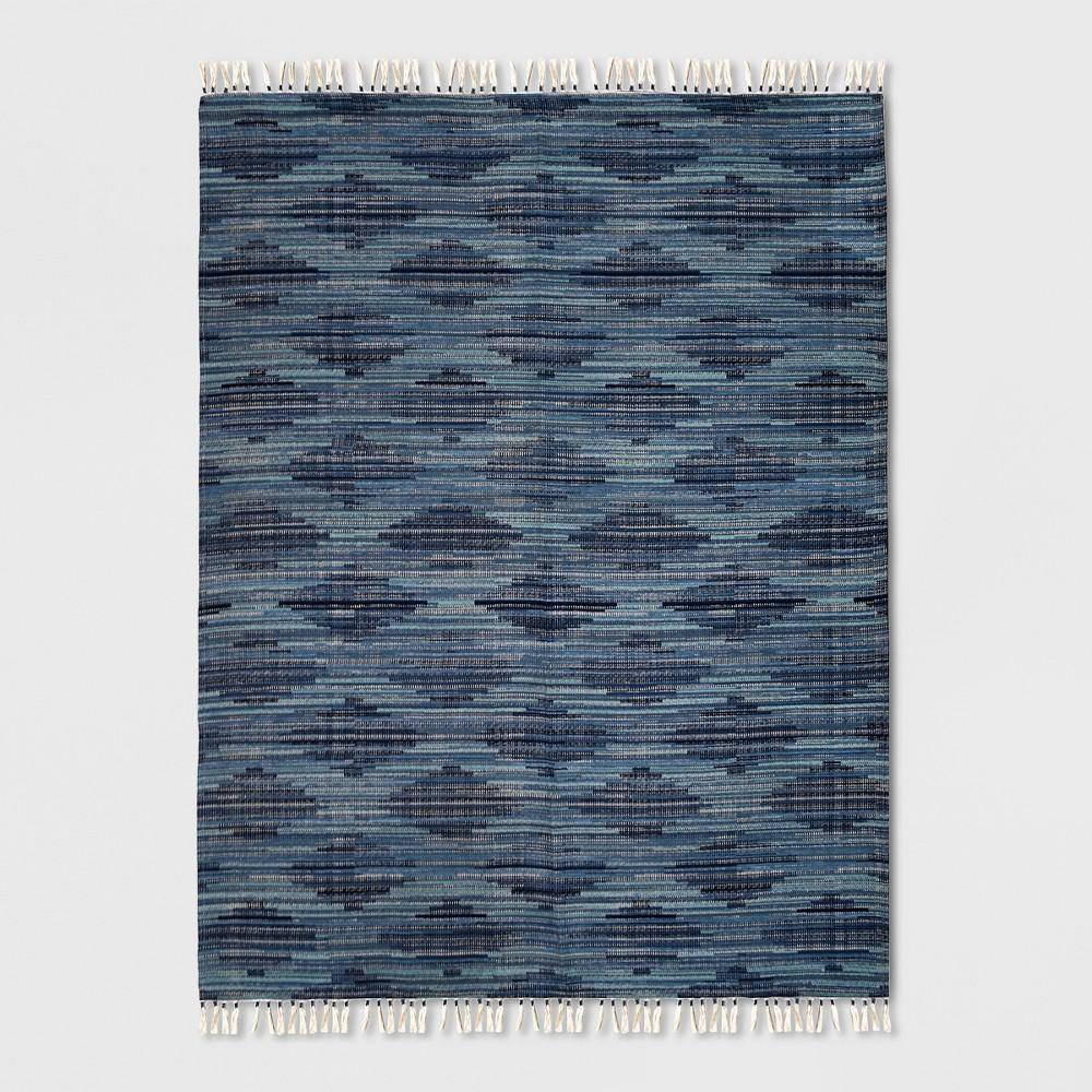 9' x 12' Diamond Tassel Outdoor Rug Blue - Opalhouse
