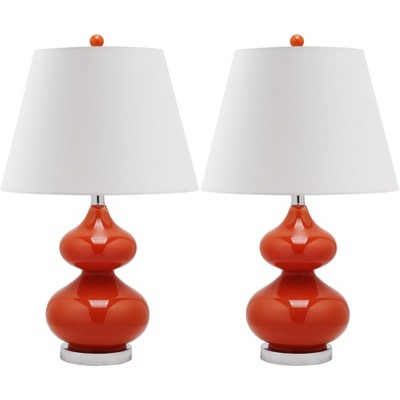 Eva Double Gourd Glass Lamp (Set of 2) - Blood Orange - Safavieh
