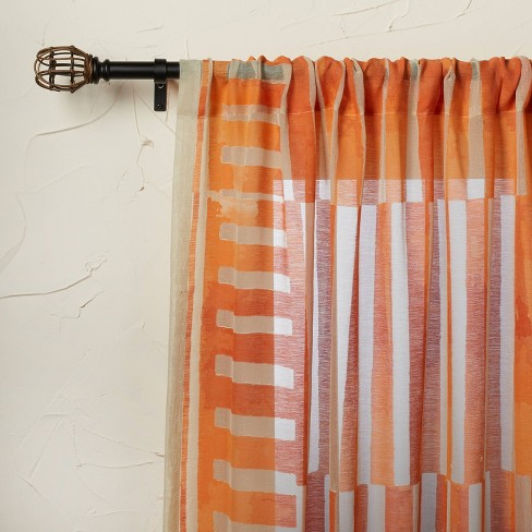 63 X54 Ophelia Printed Burnout Sheer, Sheer Orange Curtains