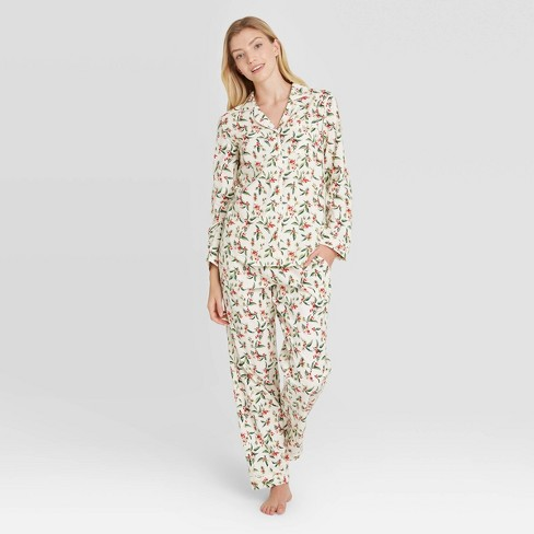 Women's Holly Print Perfectly Cozy Flannel Long Sleeve Notch Collar Top and Pants Pajama Set - Stars Above™ Cream - image 1 of 2