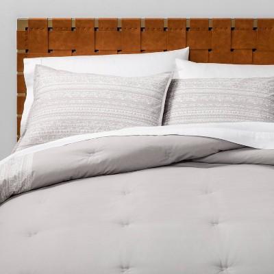 Full/Queen Printed Comforter Set Gray Border - Opalhouse™