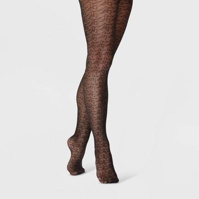 Women's Rattan Pattern Tights - A New Day™ Black