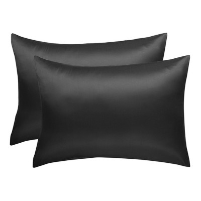 "2 Pcs Queen(20""x30"") Silk Luxury Pillow Cases Black - PiccoCasa"