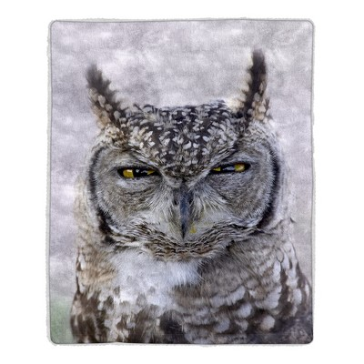 Hastings Home Lightweight Hypoallergenic Sherpa Fleece Throw Blanket With Owl Print Pattern for Adults and Kids
