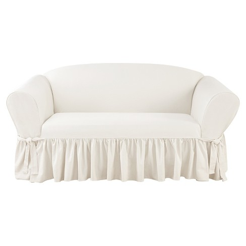 Essential Twill Ruffle Loveseat Slipcover White Sure Fit Target