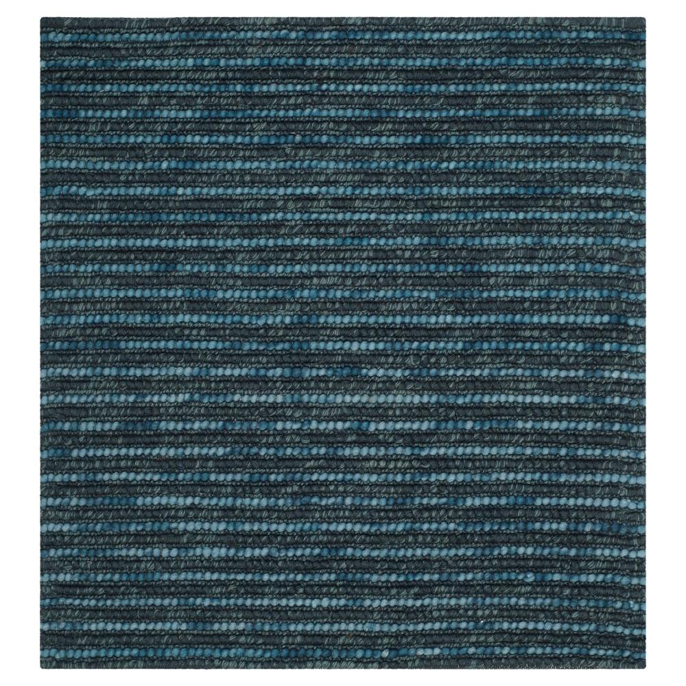 Dark Blue Stripe Woven Square Area Rug - (10'X10') - Safavieh, Dark Blue/Multicolor