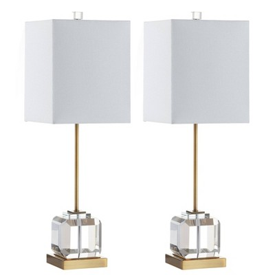 Set of 2 Zayne Table Lamps (Includes LED Light Bulb) Clear/Brass/Gold - Safavieh