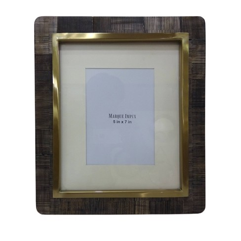 "5"" x 7"" Scratched Bone with Brass Frame Gray - Opalhouse™ - image 1 of 2"