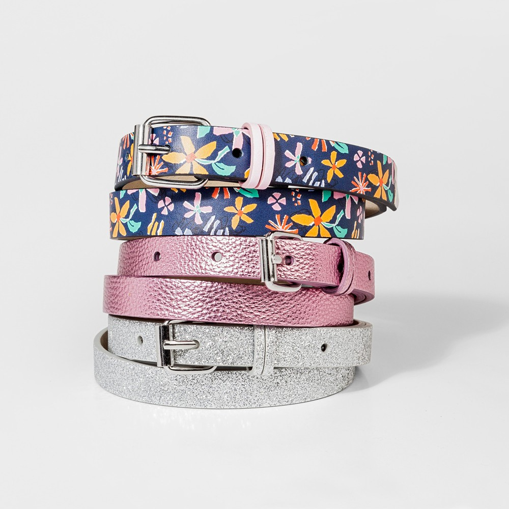 Girls' 3pk Printed Belts - Cat & Jack S, Multicolored