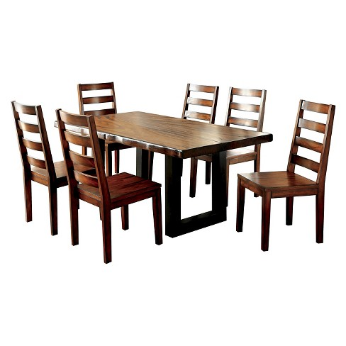Sun Pine 7pc Rustic Two Tone Dining Set Tobacco Oak Target