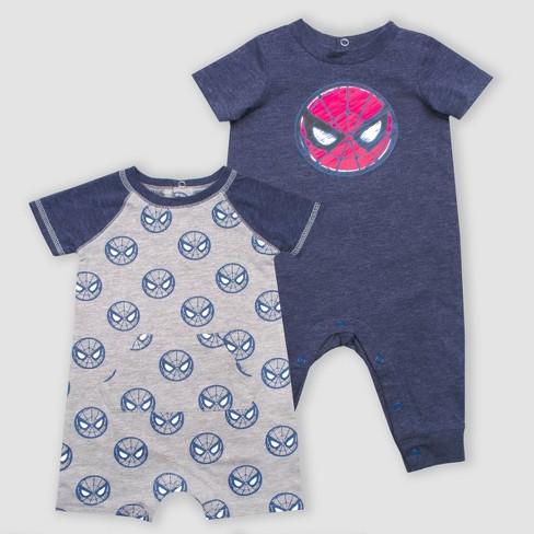 59b0e9674 Baby Boys  Marvel 2pk Rompers - Navy Gray   Target