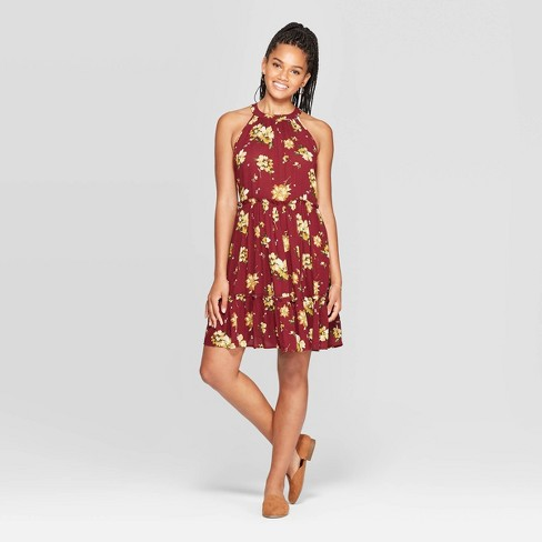 Women's Floral Print Sleeveless High Neck Sleeveless Tiered Shift Mini Dress - Xhilaration™ Burgundy - image 1 of 2