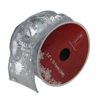 """Northlight Silver Wired Christmas Words Craft Ribbon 2.5"""" x 10 Yards"""